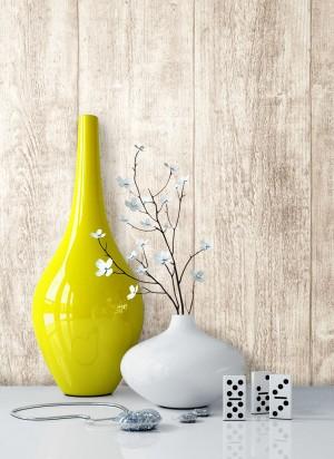 Holztapete Vlies Beige Creme Vase