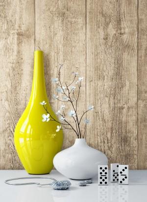 Holztapete Vlies Vase Beige Creme