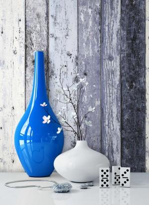 Vliestapete Holz Blau Vase