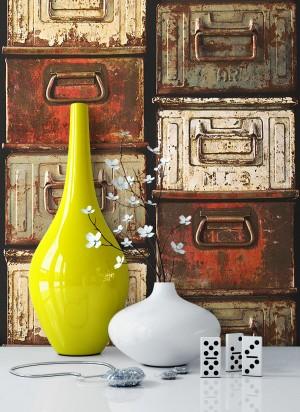 Tapete Rot Braun Rustikal Vlies Vase