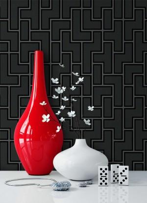 Tapete Schwarz Grafik Muster Deko