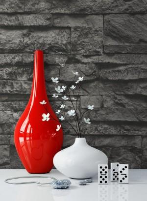 Tapete Vlies Weiß Vase