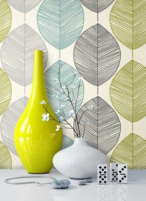 Tapete Grün Blau Vase
