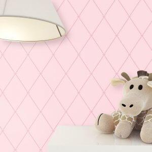 Kindertapete Rosa Geometrisch Stofftier
