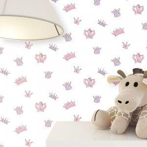 Kindertapete Rosa Kronen Stofftier