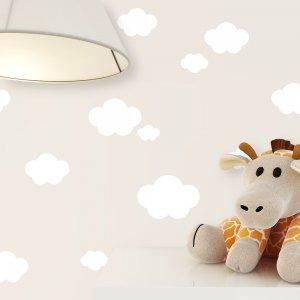 Kindertapete Beige Weiß Wolken