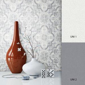 Barocktapete Weiß Grau