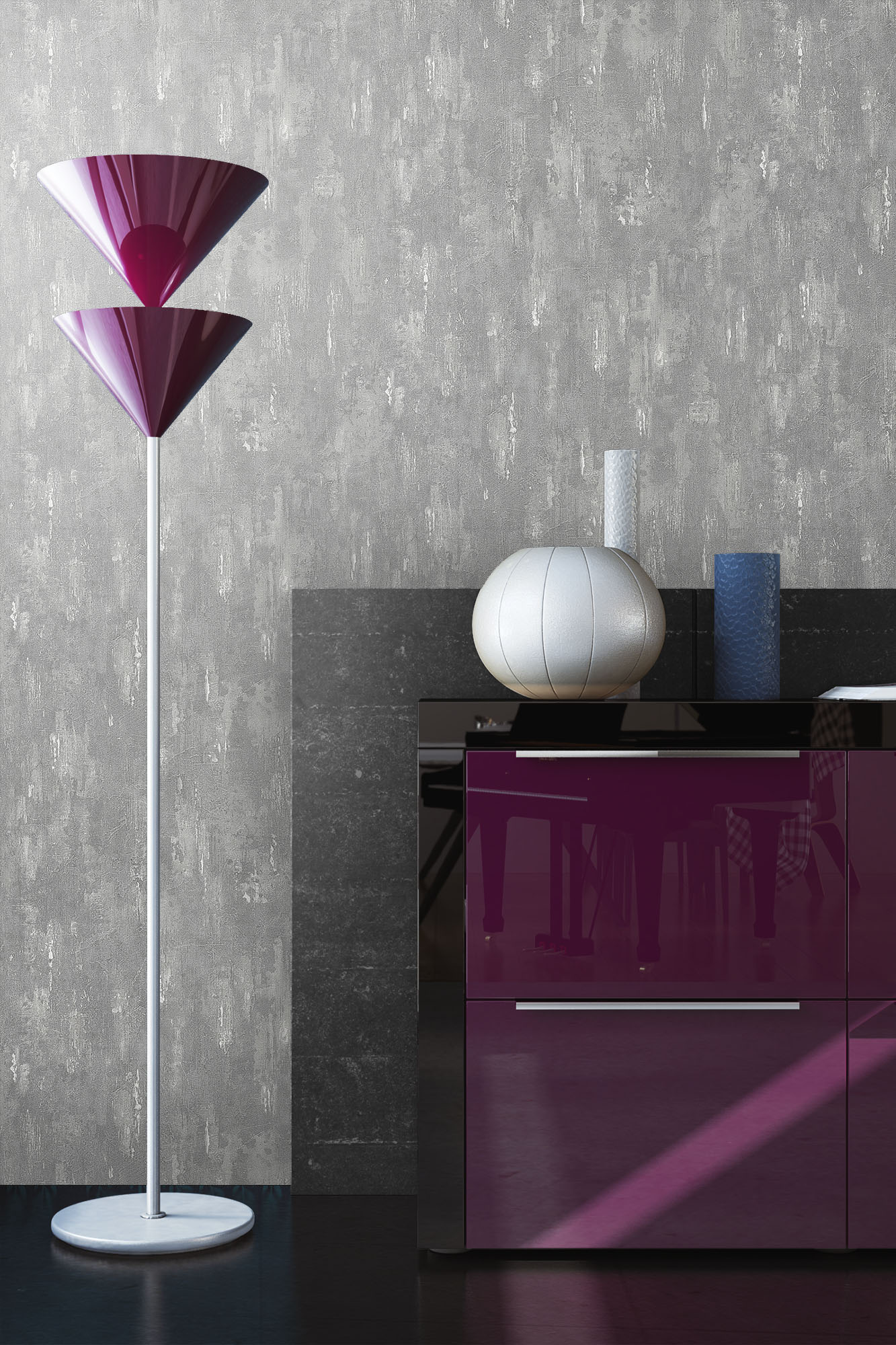 Tapete vlies stein beton grau steinwand putz metall optik