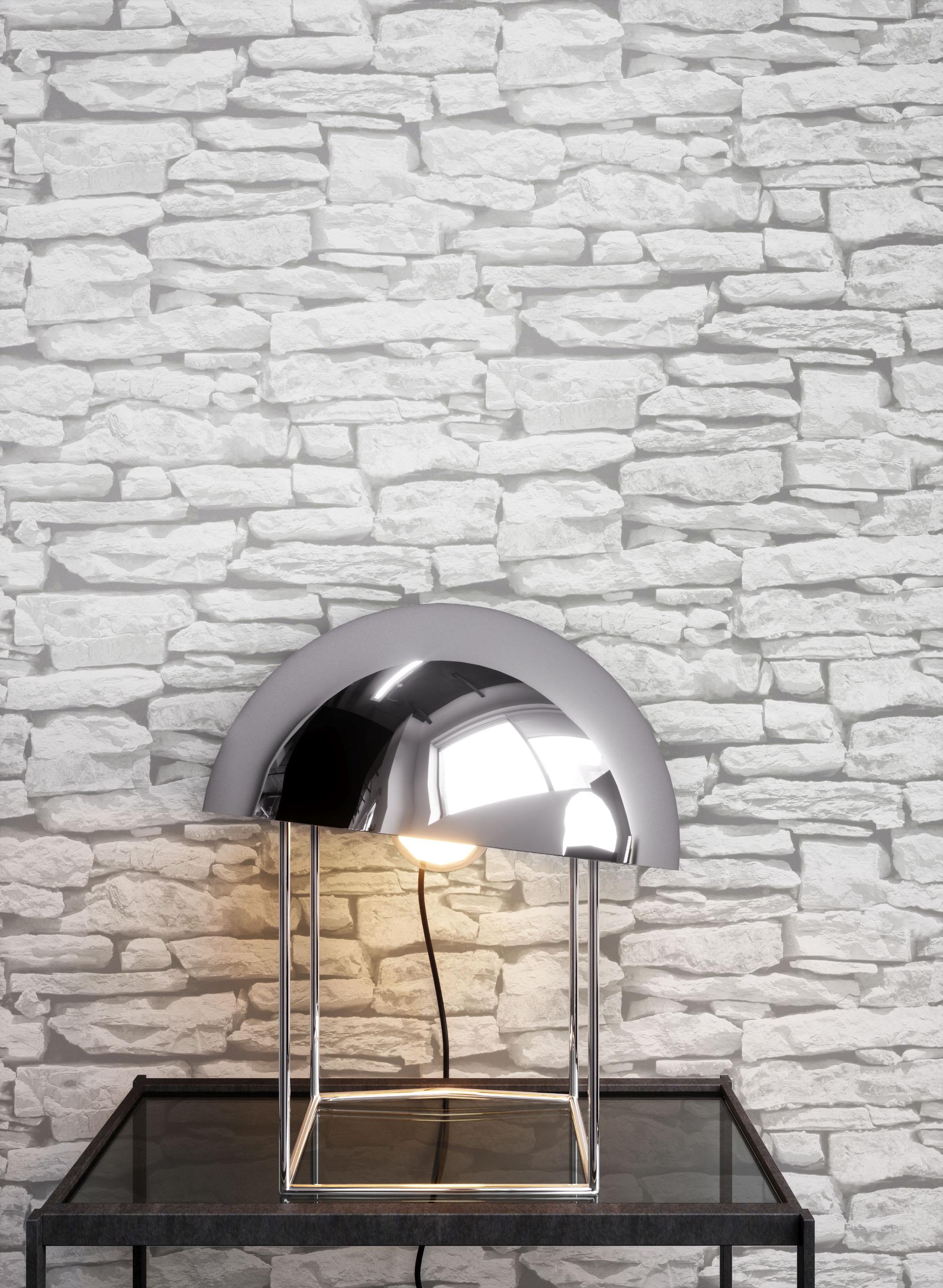 Genial Steintapete Grau,Weiß Papier