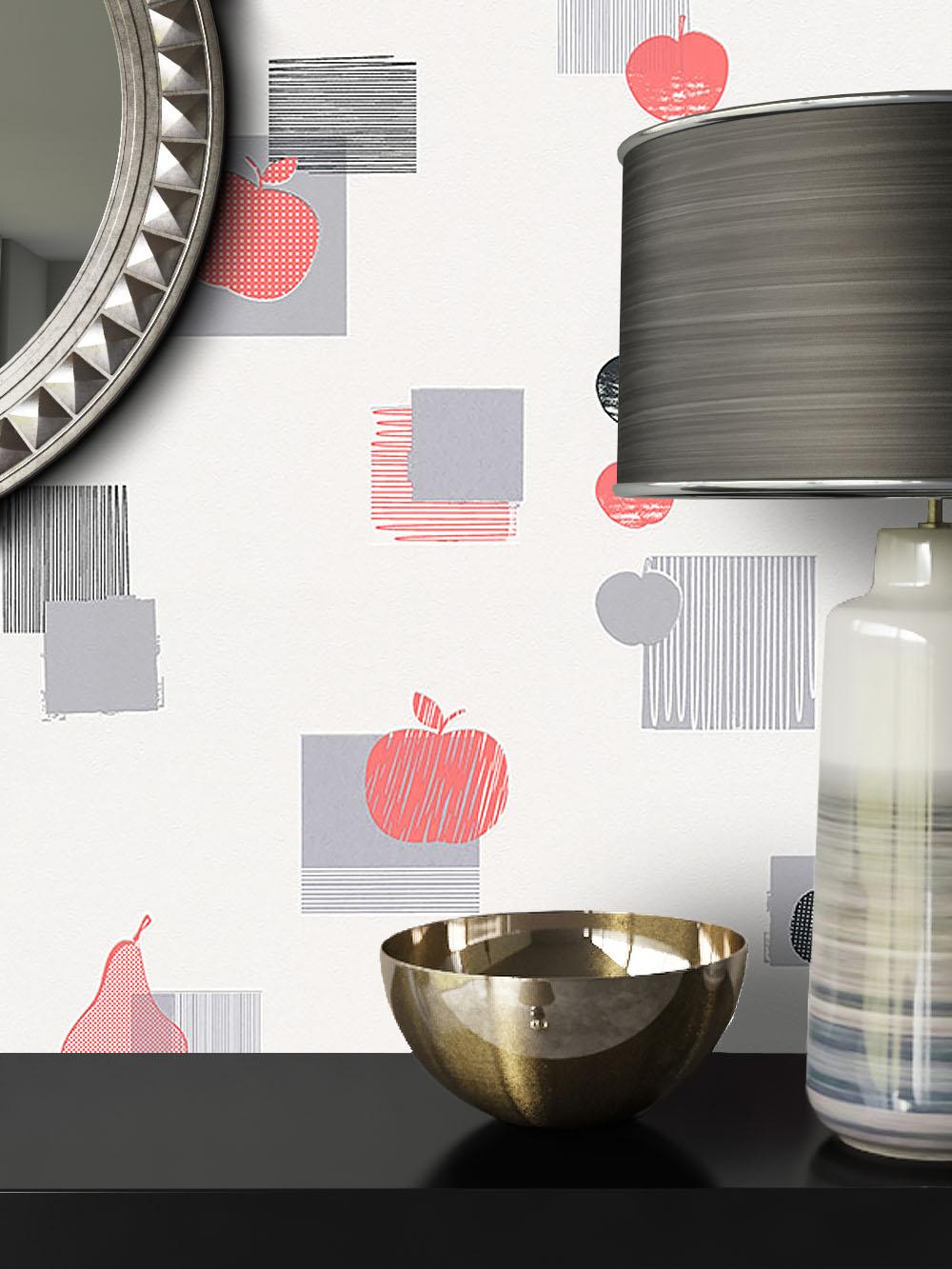 newroom vliestapete rot k che vlies grau landhaus 3d optik. Black Bedroom Furniture Sets. Home Design Ideas