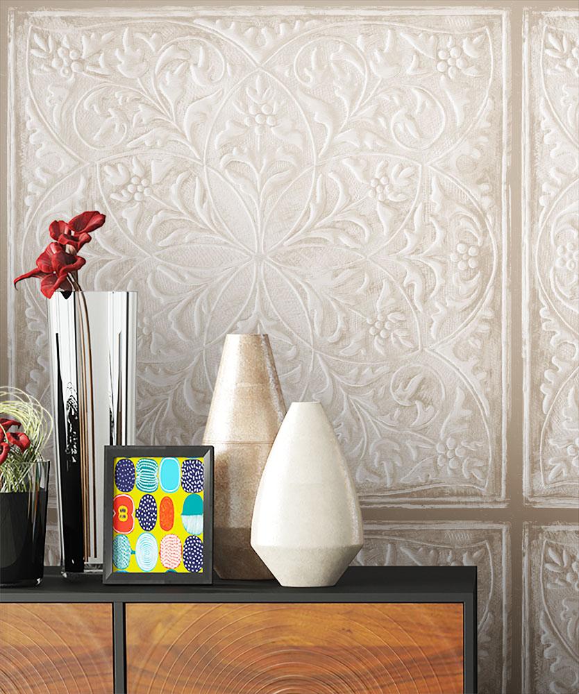 tapete vlies stein beige grau tuerkis schwarz antik - Wandgestaltung Trkis Grau Beige