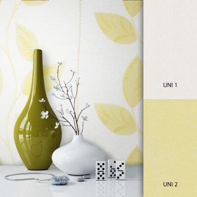 Pflanzentapete Weiß Gelb