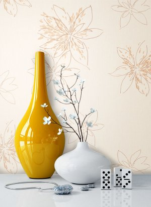 Tapete Blumen Muster Braun Beige Deko