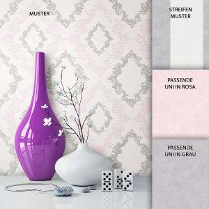 Tapete Vlies Barock Creme Grau Rosa Dekoration