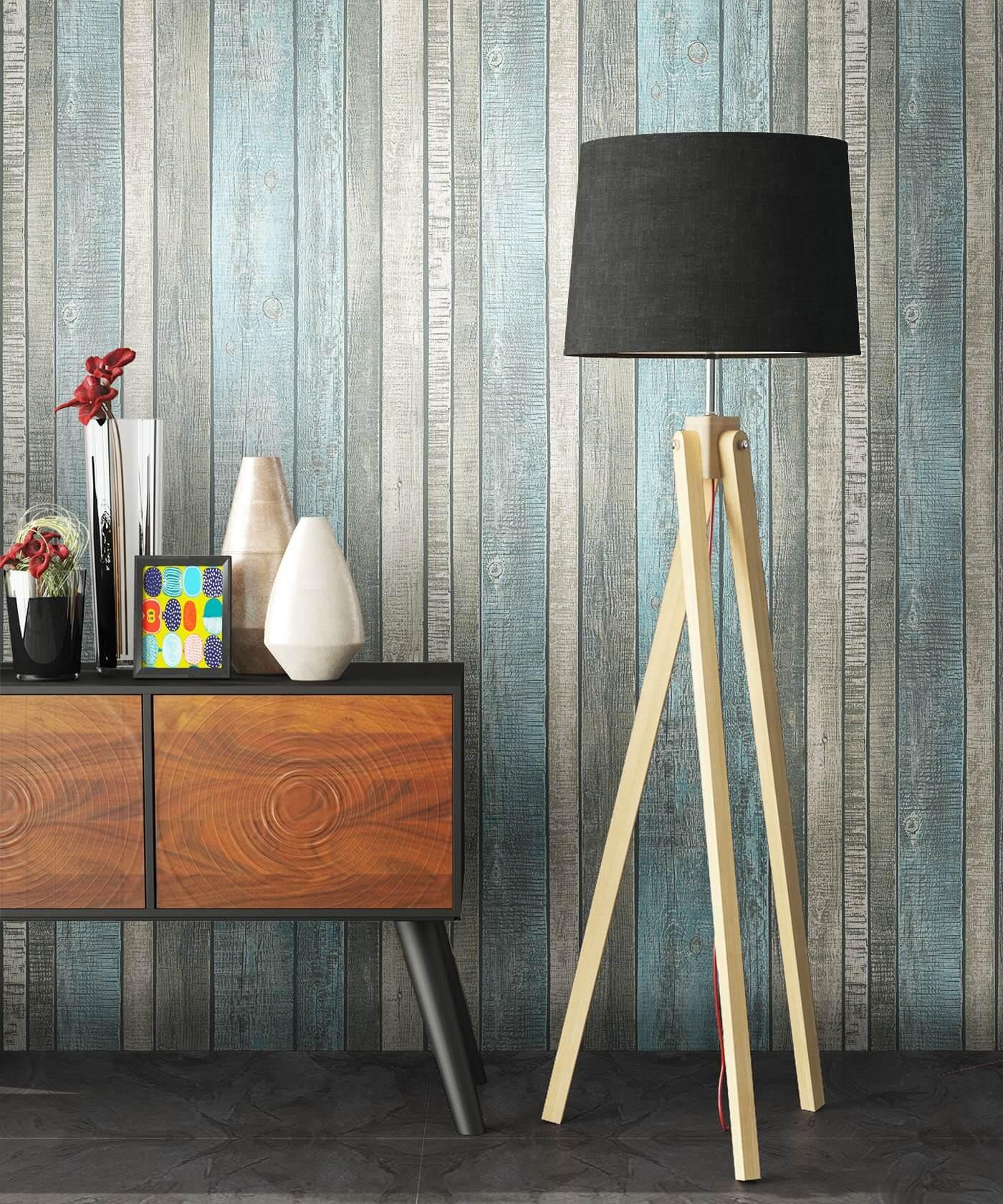 vliestapete blau landhaus holzbalken holz bad diele flur k che schlafen wohnen. Black Bedroom Furniture Sets. Home Design Ideas