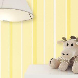 Kindertapete Gelb Streifen Muster Deko