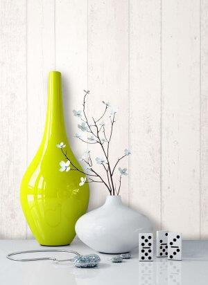 Vliestapete Holz Weiß Vase