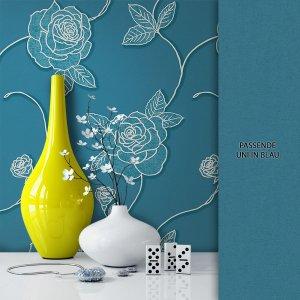 Tapete Vlies Blau Blumen Muster Dekoration