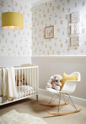 Tapete Lampe Bett Stuhl Kinderzimmer