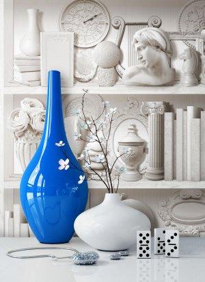 tapete Bücherregel Vase Weiß