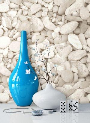 Steintapete Kieselstein Beige Grau Vase