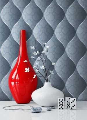 Vliestapete Vinyl Floral Barock Blau Vase