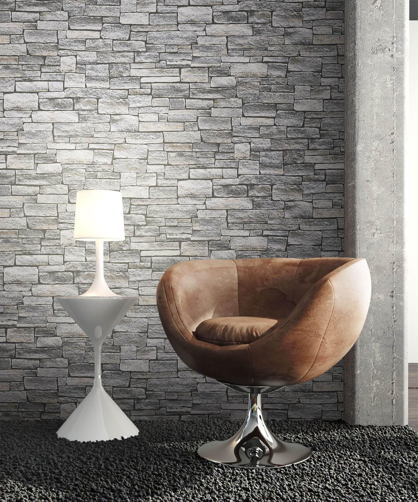 Steintapete grau vlies  Wall Grau