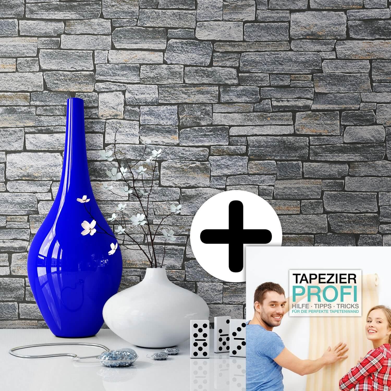 Steintapete grau küche  Wall Grau