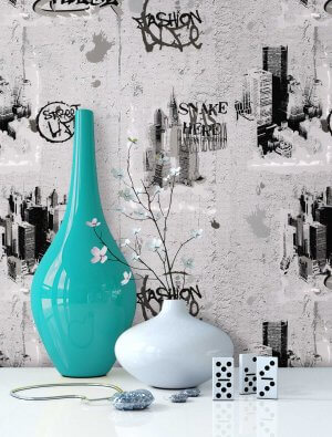 Tapete Mauer Grafitti Städte Vase
