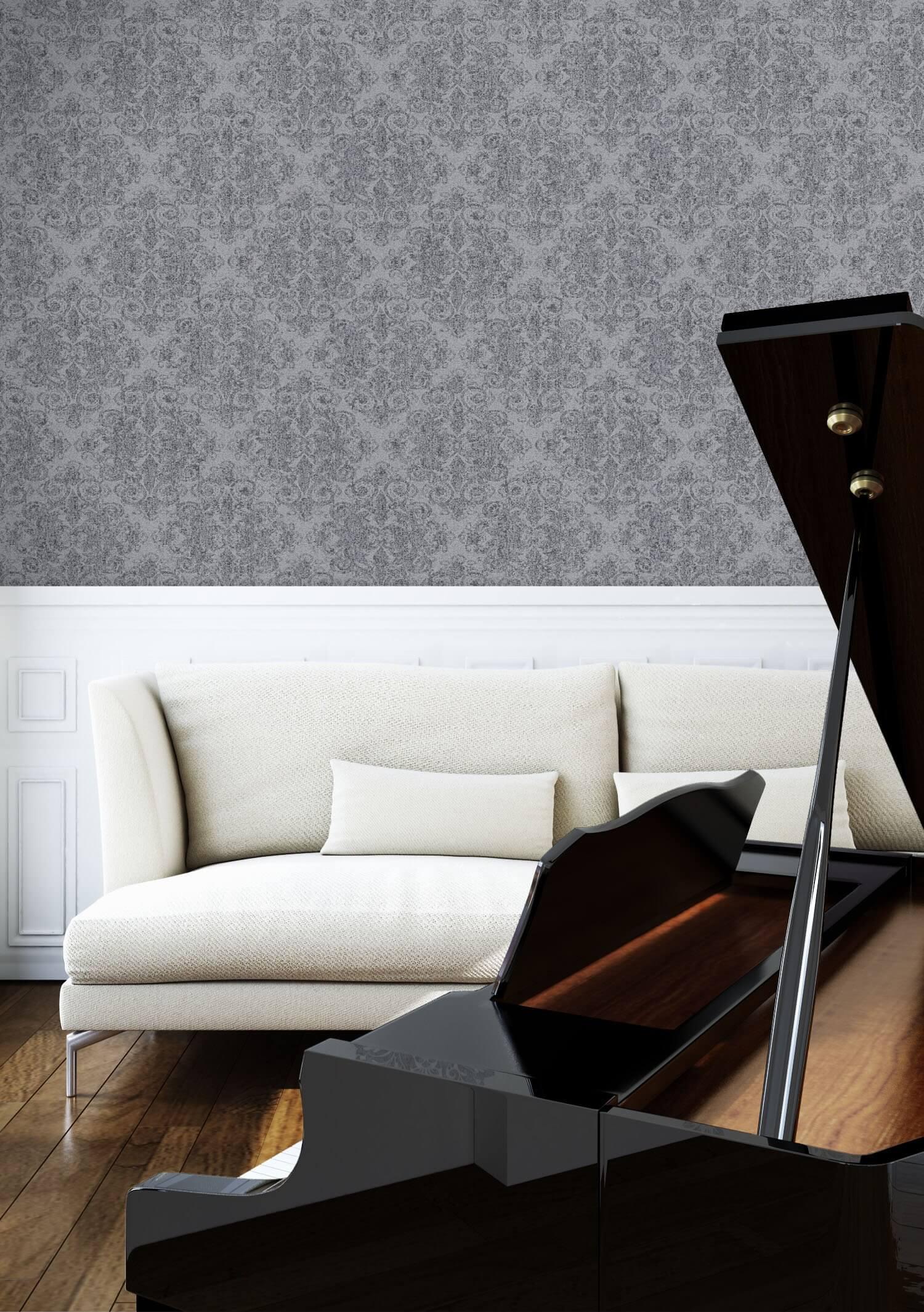 Vliestapete grau landhaus barock neo klassik diele flur k che schlafen wohnen newroom - Klavier fliesen ...