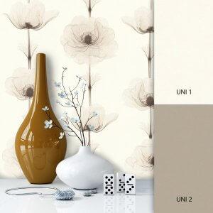 Blumentapete Weiß Braun