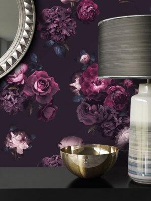 Tapete Schwarz Violett Blumen Muster Deko