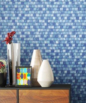 Tapete Mosaik Fliesen Blau Deko