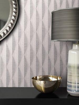 Tapete Spiegel Schale Lampe