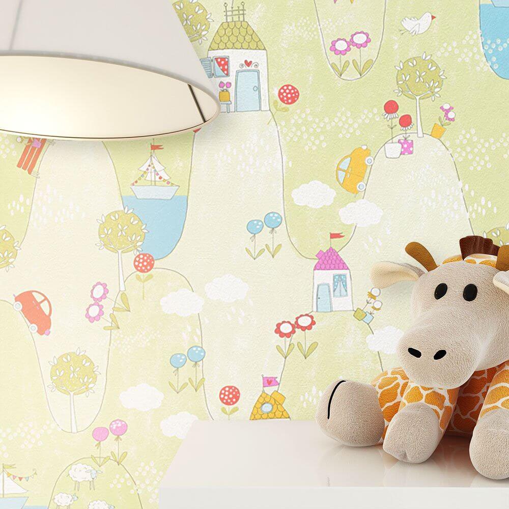 papiertapete beige natur auto b ume kinder newroom. Black Bedroom Furniture Sets. Home Design Ideas