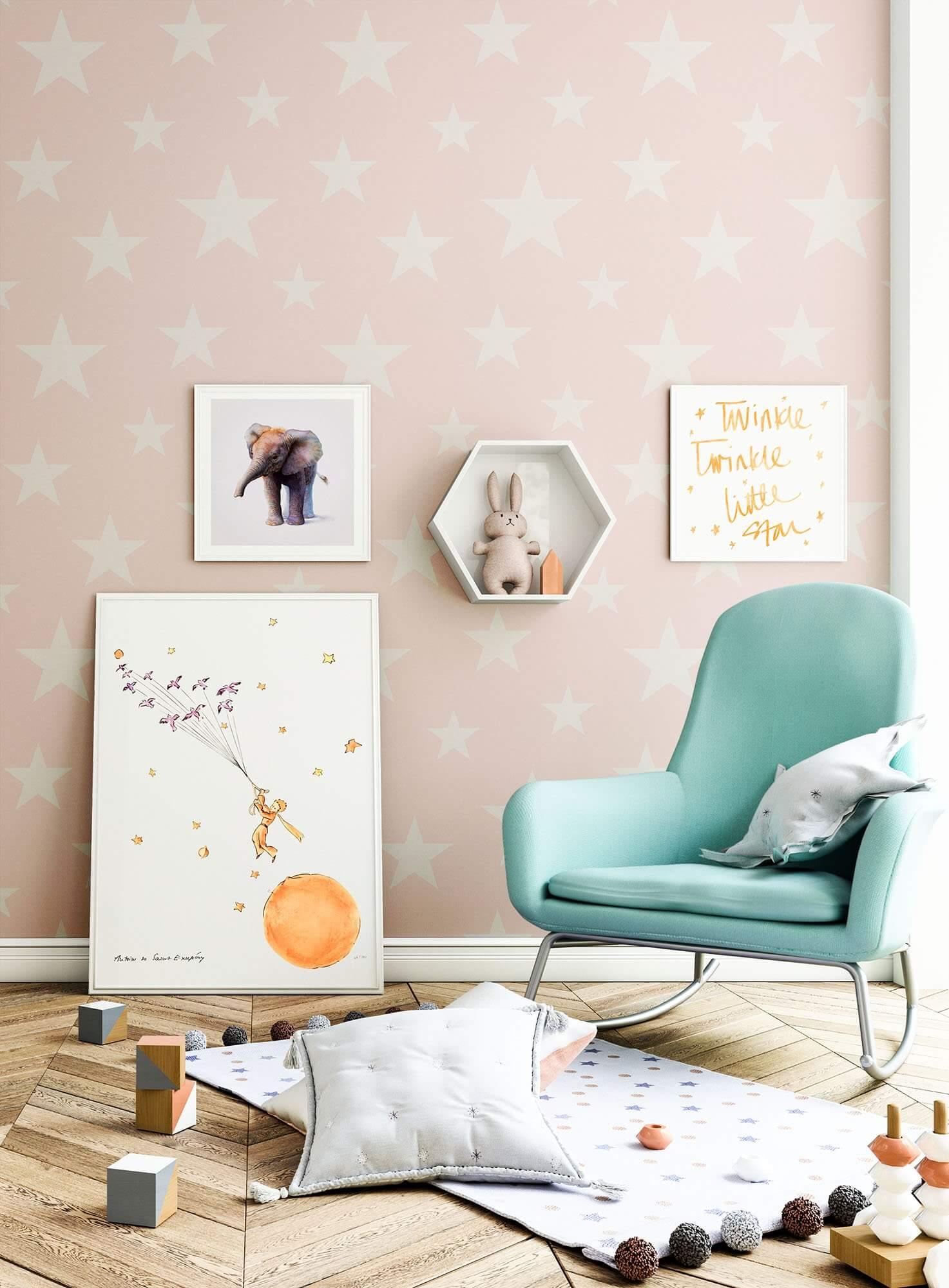 vliestapete rosa kinder sterne newroom. Black Bedroom Furniture Sets. Home Design Ideas