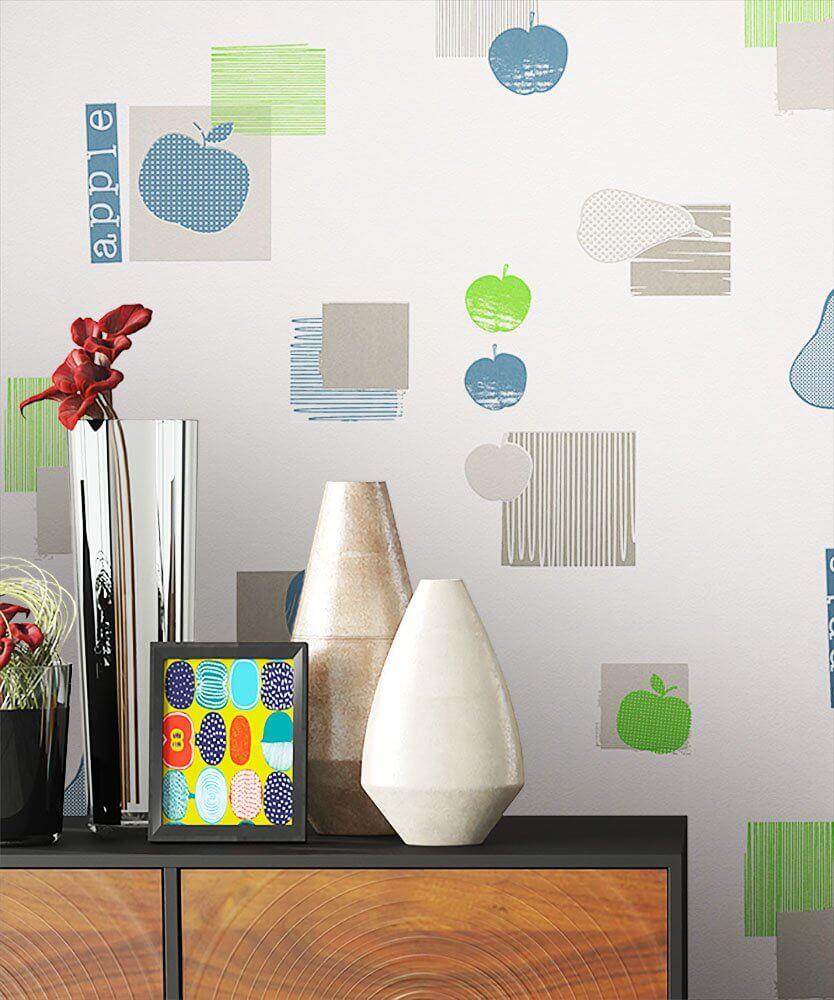 vliestapete blau k che apfel birne k che newroom. Black Bedroom Furniture Sets. Home Design Ideas