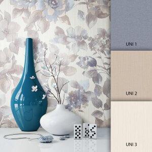 Blumentapete Beige Blau