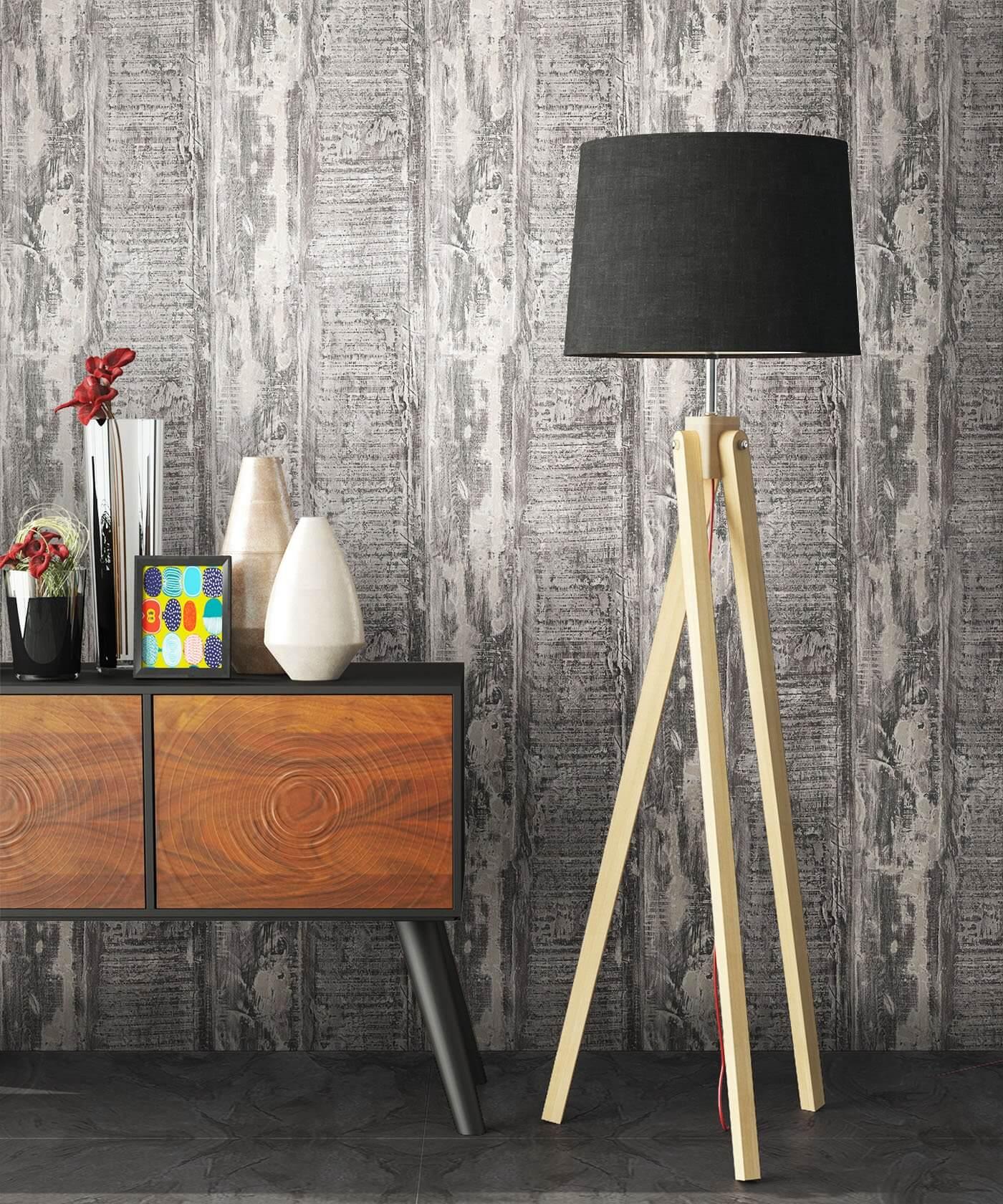 Vliestapete - grau - Landhaus - - Holzbalken - Holz Büro, Diele/Flur ...