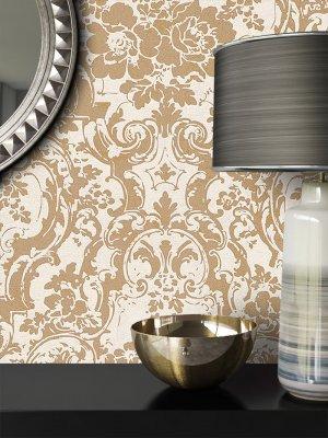 Tapete Vlies Beige Gold Blumen Barock Dekoration