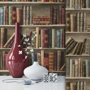 Tapete Vlies Vintage Bücherregal Deko