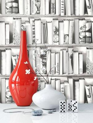 Tapete Vlies Bücherregel Vase