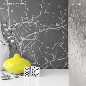 Tapete Vase Deko Vlies Vinyl Anthrazit Hellgrau Weiß