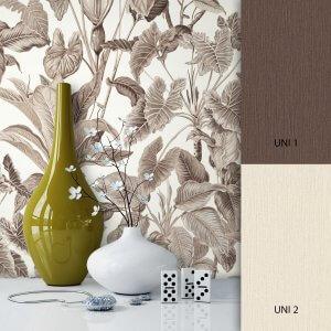 Blumentapete Braun Beige