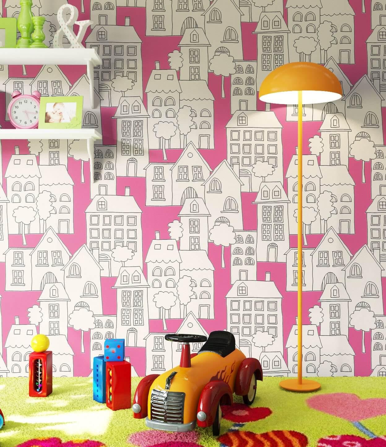 vliestapete pink kinder h user kinder newroom. Black Bedroom Furniture Sets. Home Design Ideas