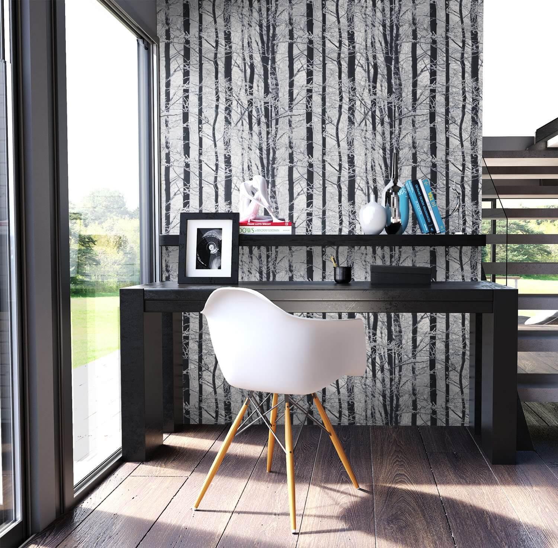 papiertapete grau natur birke b ume diele flur. Black Bedroom Furniture Sets. Home Design Ideas