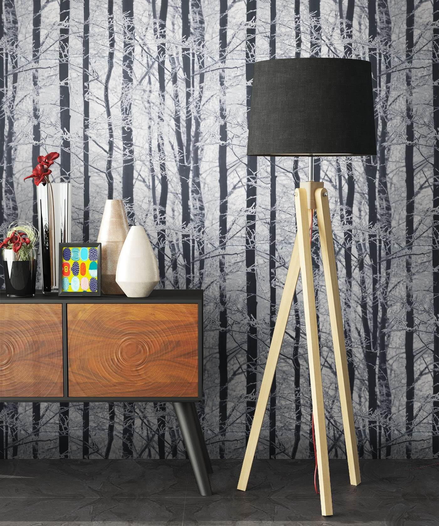 Papiertapete - Grau - Natur - - Birke - Bäume Diele/Flur, Schlafen ...