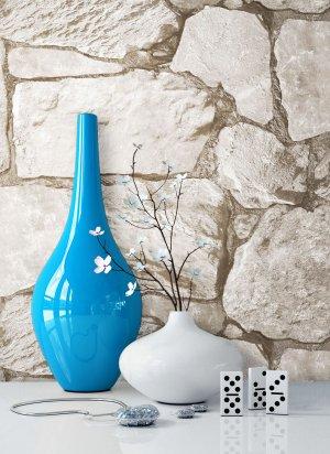 Steintapete Vlies Beige Grau Vase