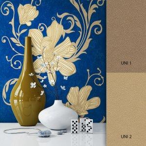 Blumentapete blau gold