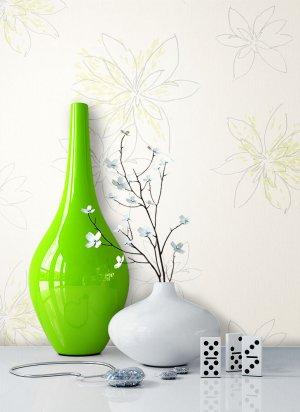 Tapete Blumen Creme Grün Deko